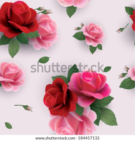 Beautiful abstract seamless floral pattern with of red and pink roses. Vector background. - stock vector
