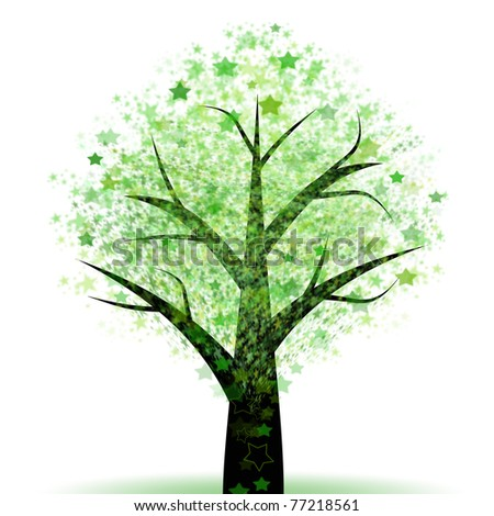 Beautiful abstract tree of spring green and stars