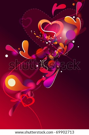 Beautiful abstract vector background with hearts and bright red lines - stock vector