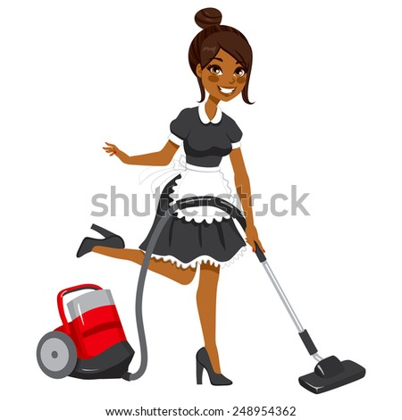 Beautiful African American woman in vintage maid dress cleaning using red vacuum cleaner - stock vector