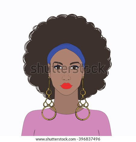 Beautiful African American woman with curly hair and gold earring. Colorful dress and kerchief. Vector - stock vector