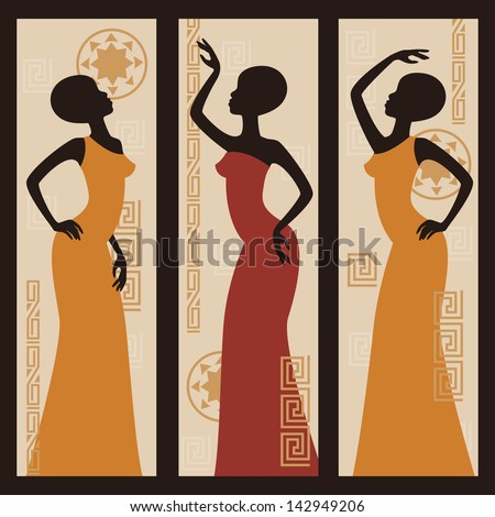 Beautiful African American women. Triptych. Hand drawing illustration. - stock vector