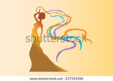 Beautiful African woman parade carrying fluttering, colorful scarves - illustration on beige background - stock vector