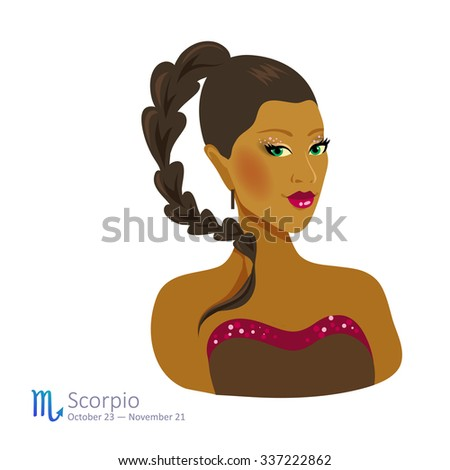 Beautiful afro-american girl with brown hair - scorpio. Horoscope. Astrology. Vector isolated illustration. Cartoon characters. Sign of the zodiac. - stock vector