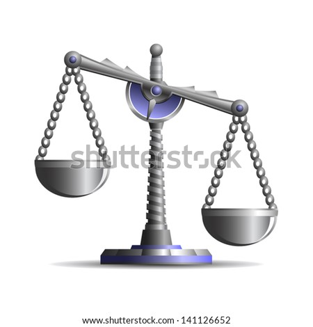 Beautiful ancient scales of justice - icon isolated on white background. Vector. - stock vector