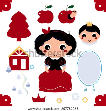 Beautiful and adorable snow white set. Vector cartoon illustration - stock vector