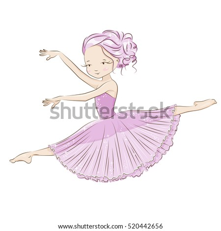 Beautiful and charming ballerina fulfills ballet pas. She is dancing in light, beautiful pink dress. Hand drawn illustration on white background.