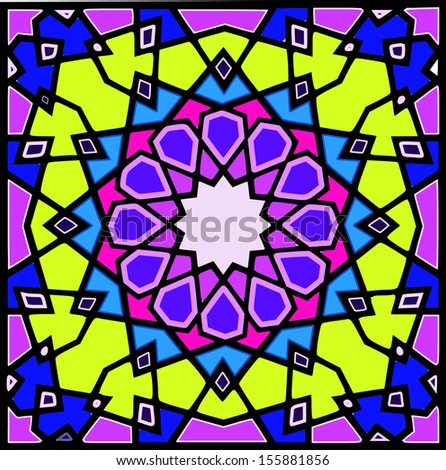 Beautiful and complex twelve(12) point ancient islamic star geometric pattern ornament.This pattern can be found in few mosque constructed in after 12th century during Mamluki,Ghurid & Ottoman dynasty - stock vector