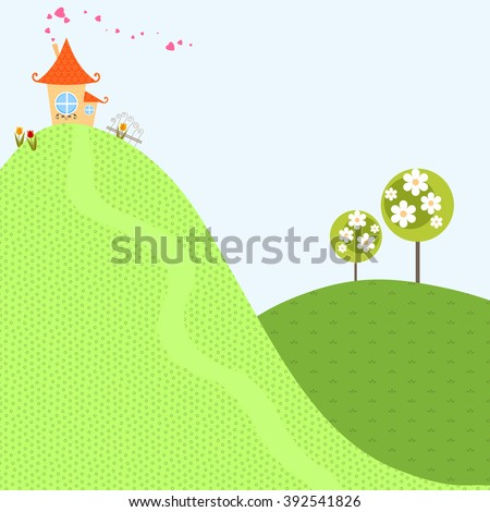 Beautiful and cute children's illustration with a house on a hill trees flower garden and green meadows