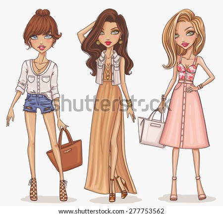 Beautiful and stylish fashion girl set. Hand drawn girls in spring-summer outfits. Vector illustration. - stock vector