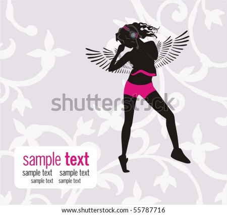Beautiful angel, Floral background