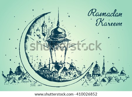 Beautiful Arabian lantern on green background, Ramadan celebration illustration, hand drawn - stock vector