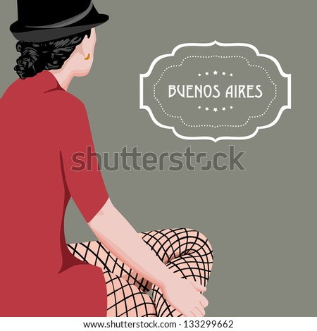 Beautiful argentine woman. Buenos Aires theme vector. - stock vector