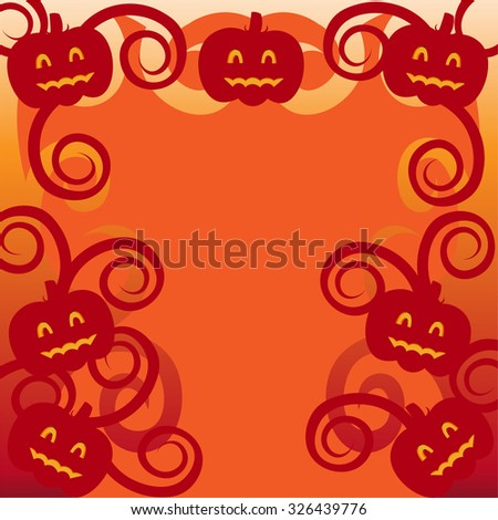 Beautiful art creative colorful halloween holiday wallpaper vector illustration of cover with frame of many red smiling pumpkins on blank orange background copy space - stock vector