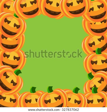 Beautiful art creative colorful halloween holiday wallpaper vector illustration of cover with frame of many orange smiling pumpkins on blank light green background copy space - stock vector