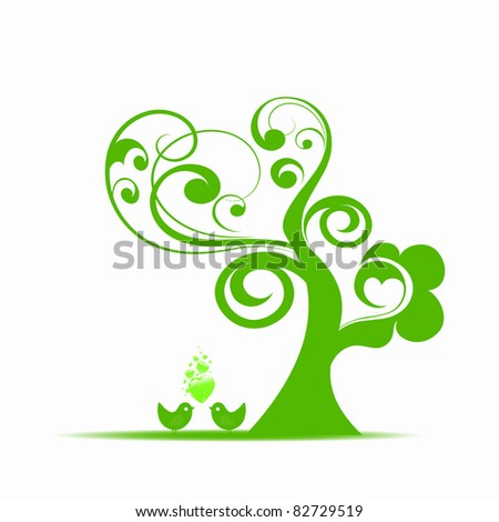 Beautiful art tree and birds isolated on white background