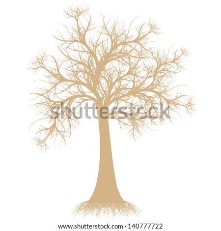 Beautiful art tree silhouette isolated on white background