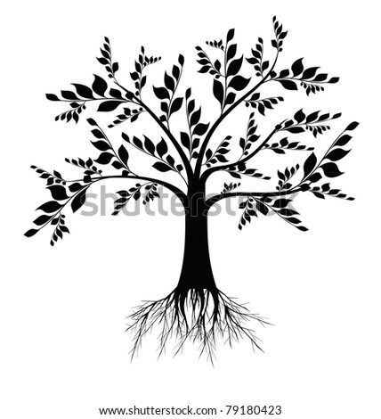 Beautiful art tree silhouette isolated on white background - stock vector
