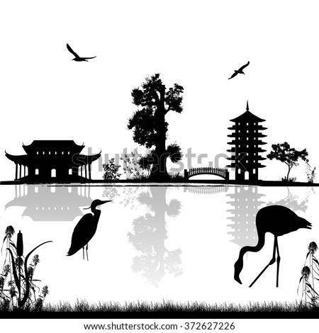 Beautiful asian landscape near water on white background, vector illustration   - stock vector