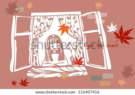Beautiful Autumn Scene - enjoying lovely young girl with a white cute pet in her room  on a background of brick wall : vector illustration - stock vector