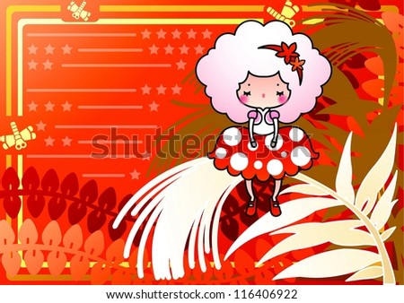 Beautiful Autumn Scenery - enjoying lovely cute young fairy on white silhouette of reeds in romantic garden on a red background of stripe patterns : vector illustration - stock vector
