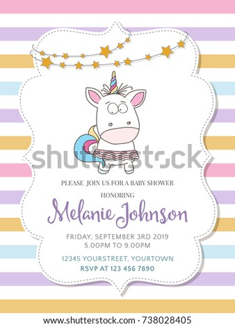 Beautiful Baby Shower Card Template With Lovely Unicorn Baby Girl , Vector  Format