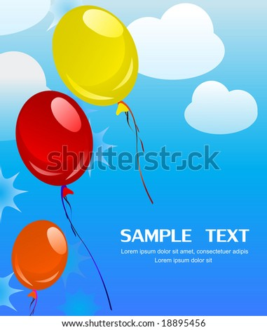 Beautiful background illustration of colorful balloons flying in the sky - stock vector