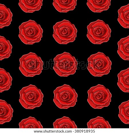 Beautiful Background Seamless Pattern Black With Red 3D Flower Rose Trendy Creative Wallpaper Vector