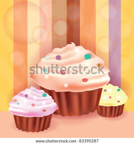 Beautiful background whit three delicious cup cakes - stock vector
