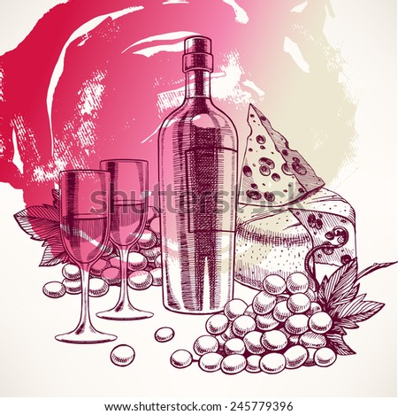 beautiful background with a bottle of wine, glasses, bunch of grapes and cheese - 2 - stock vector