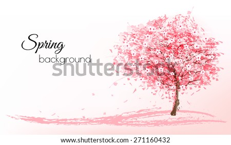 Beautiful background with a pink blooming sakura tree. Vector. - stock vector