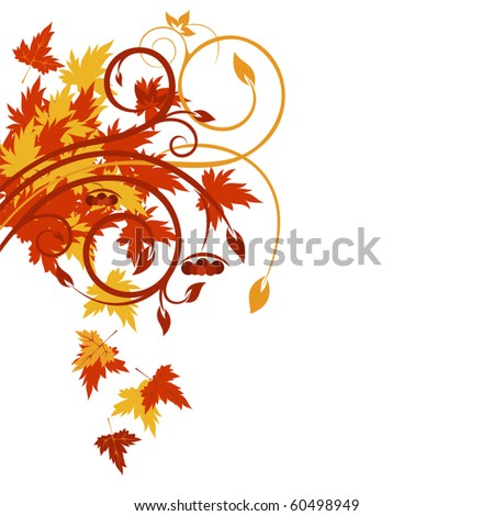 Beautiful background with autumnal floral design - stock vector