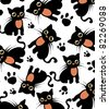 Beautiful background with black cats and paws pattern, vector illustration - stock photo