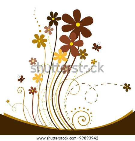 Beautiful background with brown, coffee and chocolate colored fl - stock vector