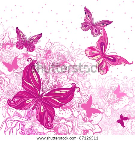 Beautiful background with butterflies and flowers - stock vector