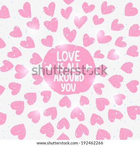beautiful background with decorative element grunge hearts - stock vector