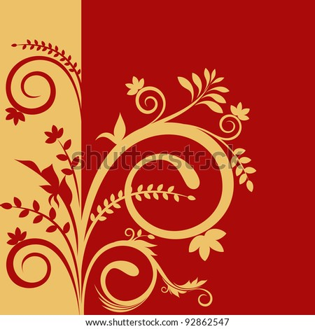 Beautiful background with floral ornament in red and gold color - stock vector