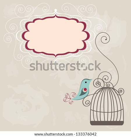 Beautiful background with frame and birdcage, vector illustration