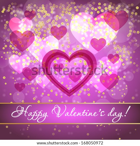 Beautiful background with hearts for Valentine's Day
