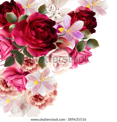 Beautiful background with roses and hyacinth flowers  vector illustration - stock vector