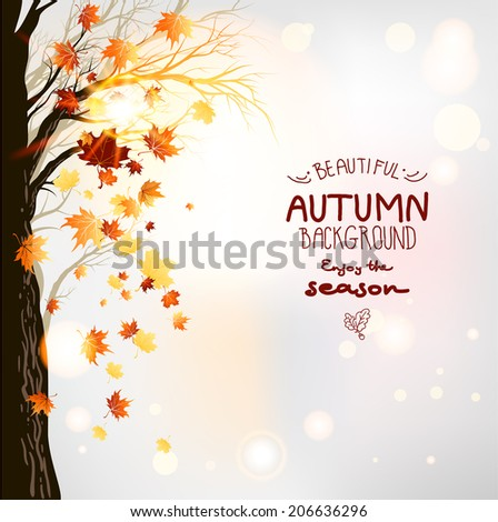 Beautiful background with tree and flying leaves - stock vector