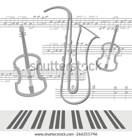Beautiful background with viola and saxophone with notes - stock vector
