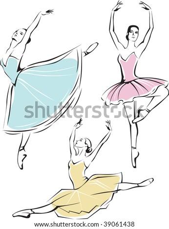 Beautiful ballet dancers - stock vector