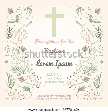 Beautiful Baptism invitation card with floral hand drawn watercolor elements. Cute and romantic vintage style. Vector image in light  pink and green colors. - stock vector