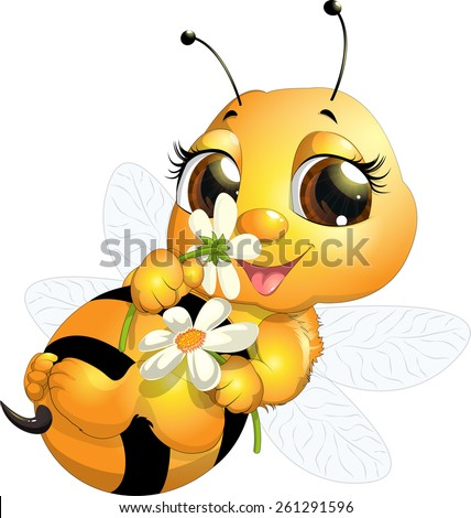 beautiful bee which narisovana on white background - stock vector