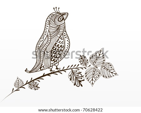 beautiful bird in a vintage-style sitting on a tree branch - stock vector