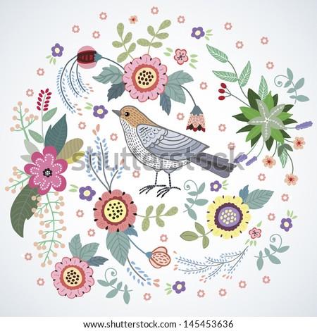 beautiful bird in flowers - stock vector