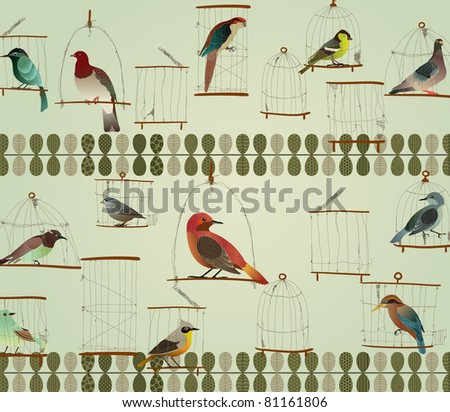 Beautiful Birds in The Cage Concept Design. Retro Style. - stock vector