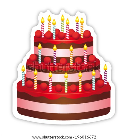 Beautiful birthday cake. Anniversary icon.  - stock vector