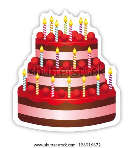 Beautiful birthday cake. Anniversary icon.  - stock vector